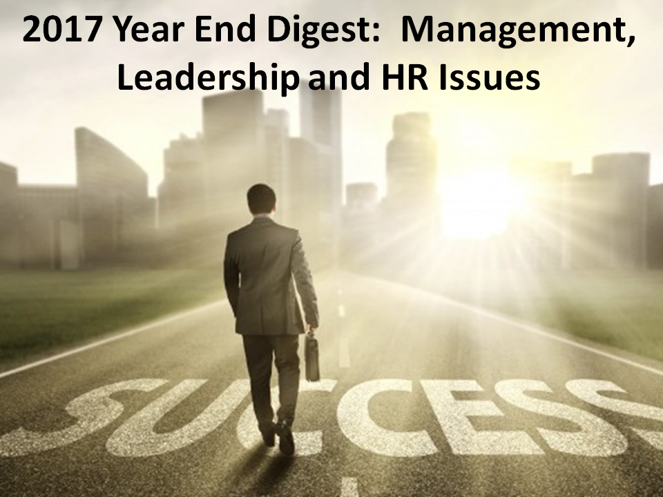 TIGERS Success Series 2017 Year End Blog: Management, Leadership and HR Issues
